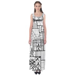 Drawing Empire Waist Maxi Dress