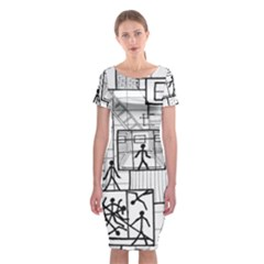 Drawing Classic Short Sleeve Midi Dress