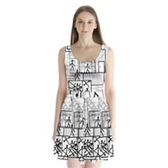 Drawing Split Back Mini Dress