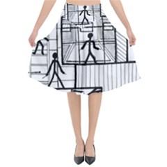 Drawing Flared Midi Skirt