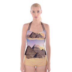 Ancient Archeology Architecture Boyleg Halter Swimsuit