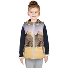 Ancient Archeology Architecture Kid s Hooded Puffer Vest