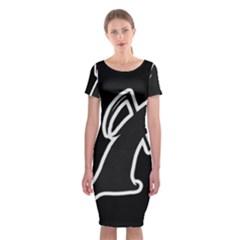 Drawing Classic Short Sleeve Midi Dress