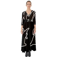 Drawing Button Up Boho Maxi Dress