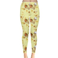 Funny Sunny Ice Cream Cone Cornet Yellow Pattern  Leggings  by yoursparklingshop