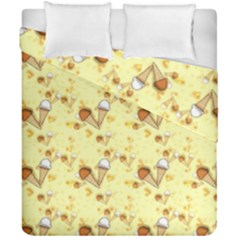 Funny Sunny Ice Cream Cone Cornet Yellow Pattern  Duvet Cover Double Side (california King Size) by yoursparklingshop