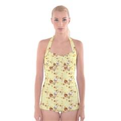 Funny Sunny Ice Cream Cone Cornet Yellow Pattern  Boyleg Halter Swimsuit