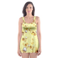 Funny Sunny Ice Cream Cone Cornet Yellow Pattern  Skater Dress Swimsuit