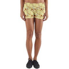Funny Sunny Ice Cream Cone Cornet Yellow Pattern  Yoga Shorts by yoursparklingshop