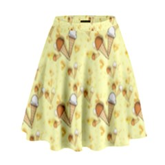 Funny Sunny Ice Cream Cone Cornet Yellow Pattern  High Waist Skirt by yoursparklingshop