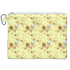 Funny Sunny Ice Cream Cone Cornet Yellow Pattern  Canvas Cosmetic Bag (xxl) by yoursparklingshop