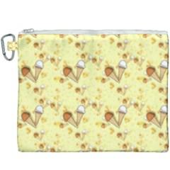 Funny Sunny Ice Cream Cone Cornet Yellow Pattern  Canvas Cosmetic Bag (xxxl)