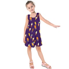 Ice Cream Cone Cornet Blue Summer Season Food Funny Pattern Kids  Sleeveless Dress