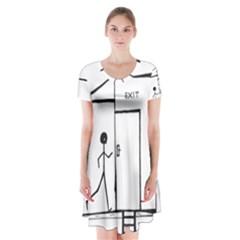 Drawing Short Sleeve V Neck Flare Dress