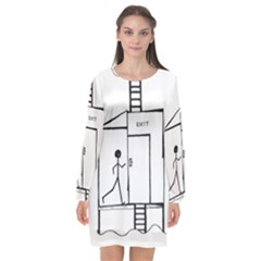 Drawing Long Sleeve Chiffon Shift Dress