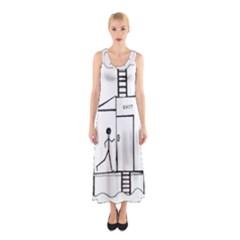 Drawing Sleeveless Maxi Dress