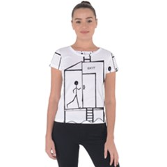 Drawing Short Sleeve Sports Top