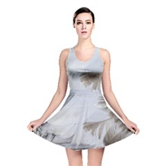 Feather Brown Gray White Natural Photography Elegant Reversible Skater Dress