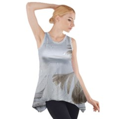 Feather Brown Gray White Natural Photography Elegant Side Drop Tank Tunic