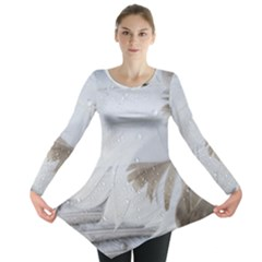 Feather Brown Gray White Natural Photography Elegant Long Sleeve Tunic