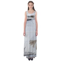 Feather Brown Gray White Natural Photography Elegant Empire Waist Maxi Dress