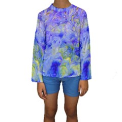 Abstract Blue Texture Pattern Kids  Long Sleeve Swimwear