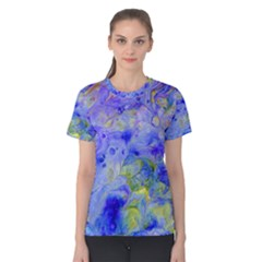 Abstract Blue Texture Pattern Women s Cotton Tee