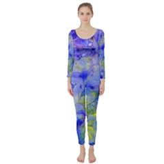 Abstract Blue Texture Pattern Long Sleeve Catsuit