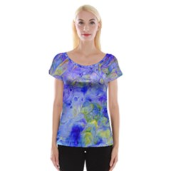 Abstract Blue Texture Pattern Cap Sleeve Tops