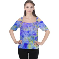 Abstract Blue Texture Pattern Cutout Shoulder Tee