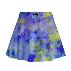Abstract Blue Texture Pattern Mini Flare Skirt