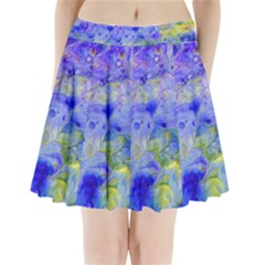 Abstract Blue Texture Pattern Pleated Mini Skirt