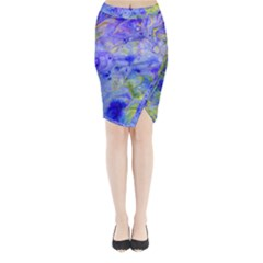 Abstract Blue Texture Pattern Midi Wrap Pencil Skirt