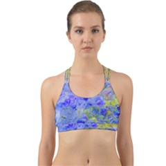 Abstract Blue Texture Pattern Back Web Sports Bra