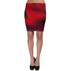 Red Black Abstract Bodycon Skirt