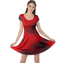 Red Black Abstract Cap Sleeve Dress