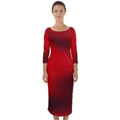 Red Black Abstract Quarter Sleeve Midi Bodycon Dress
