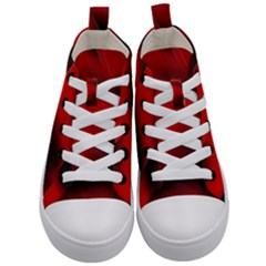 Red Black Abstract Kid s Mid Top Canvas Sneakers
