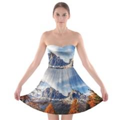 Dolomites Mountains Italy Alpine Strapless Bra Top Dress