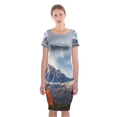 Dolomites Mountains Italy Alpine Classic Short Sleeve Midi Dress