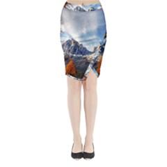 Dolomites Mountains Italy Alpine Midi Wrap Pencil Skirt