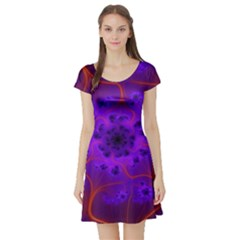 Fractal Mandelbrot Short Sleeve Skater Dress