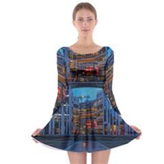 Architecture Modern Building Long Sleeve Skater Dress