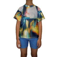 Art Painting Abstract Yangon Kids  Short Sleeve Swimwear
