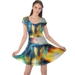 Art Painting Abstract Yangon Cap Sleeve Dress