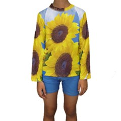 Sunflower Floral Yellow Blue Sky Flowers Photography Kids  Long Sleeve Swimwear