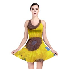 Sunflower Floral Yellow Blue Sky Flowers Photography Reversible Skater Dress