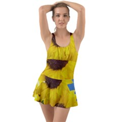 Sunflower Floral Yellow Blue Sky Flowers Photography Ruffle Top Dress Swimsuit