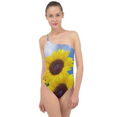 Sunflower Floral Yellow Blue Sky Flowers Photography Classic One Shoulder Swimsuit