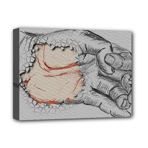 Hand Finger Drawing Fingernails Deluxe Canvas 16  X 12   by Simbadda